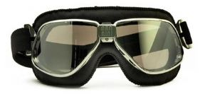 Biker Goggles Chrome + Black Leather